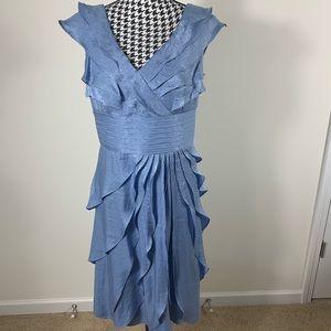 London Times Ruffles Blue Tiered Sheath Dress